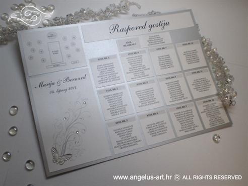 raspored sjedenja za vjenčanje bijelo srebrni s leptirom i cirkonima