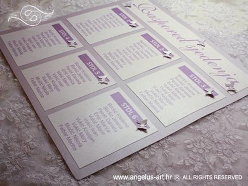 raspored sjedenja za vjenčanje ljubičasto lila s leptirima