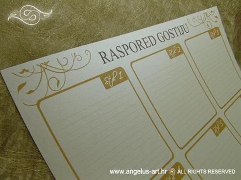 raspored sjedenja za vjenčanje za ručni upis imena