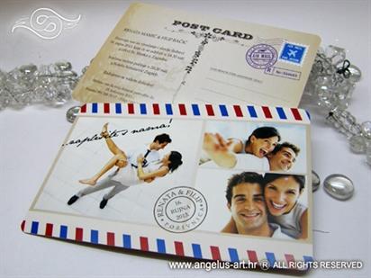 razglednica pozivnica za vjencanje sa slikom mladenaca