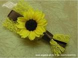 rever kitica za vjenčanje žuta mreža sa suncokretom i smeđa traka