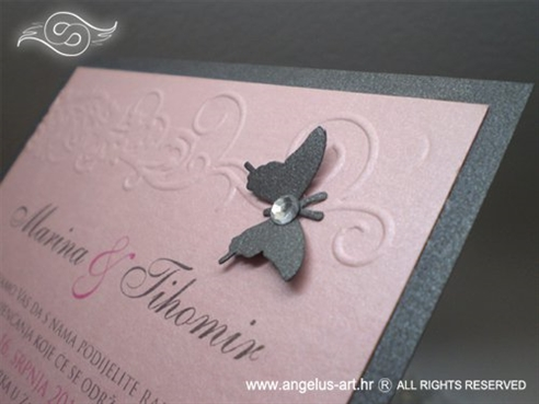 roza pozivnica za vjenčanje s leptirom i cirkonom