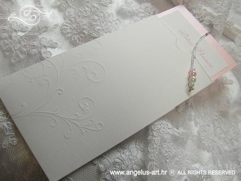 rozo bijela pozivnica za vjenčanje na izvlačenje s perlicama