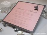 rozo srebrna pozivnica za vjenčanje s leptirom i 3D tiskom