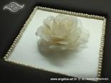 ručno rađeni album za vjenčanje smeđi s ružom i perlama