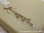 šampanj knjiga utisaka za vjenčanje s perlicama i mašnom