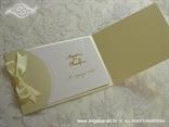 šampanj pozivnica za vjenčanje s krem mašnom od satena tisak