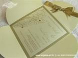 šampanj zlatna pozivnica u omotnici na rasklapanje s cirkonima