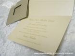 šampanj zlatna pozivnica za vjenčanje s točkicama i tiskom teksta