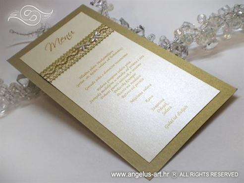 šampanj zlatni menu za vjenčanje s mrežom i leptirima