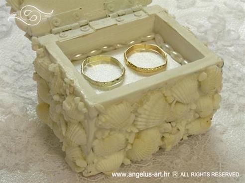 škrinjica za prstenje s bijelim školjkama i perlicama
