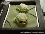 škrinjica za vjenčano prstenje smeđa s dvije bijele ruže