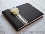 smeda knjiga dojmova za vjencanje s krem ruzom i cipkom