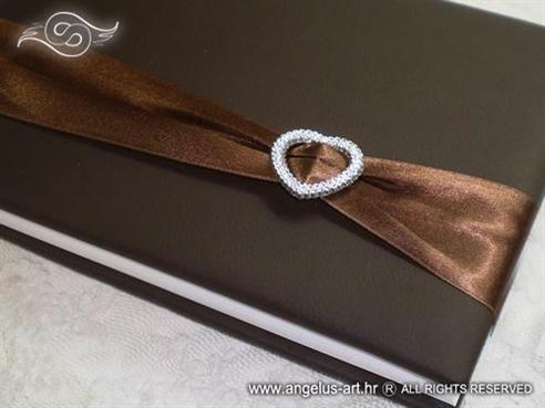 smeđa knjiga dojmova za vjenčanje sa srcem