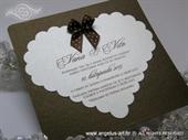 Pozivnica za vjenčanje - Brown Small Bow Heart