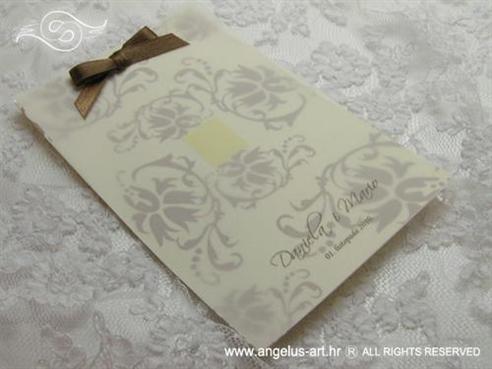 smeđa zahvalnica za vjenčanje s ornamentima