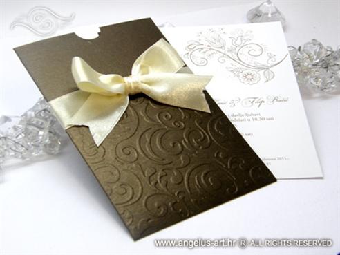 smeđe krem pozivnica za vjenčanje sa šampanj mašnom