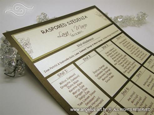smeđe krem raspored sjedenja za vjenčanje