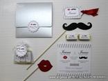 srebrna kolekcija mustache s motivom brkova i usana 5610