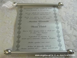 srebrna pozivnica za krstenje kao stari spis