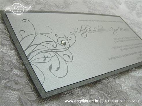srebrna pozivnica za vjenčanje dvoslojna s cirkonom