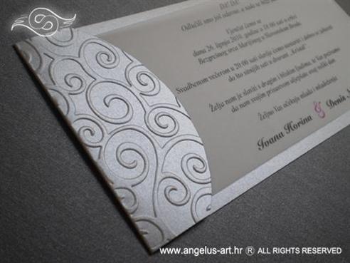 srebrna pozivnica za vjenčanje s blidruckom i tiskom