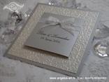 srebrna pozivnica za vjenčanje s blindruckom i mašnom