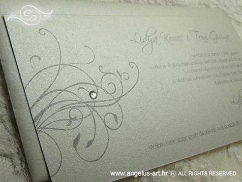 srebrna pozivnica za vjenčanje s cirkonom