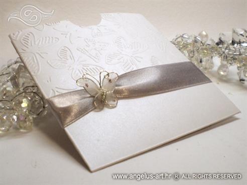 srebrna pozivnica za vjenčanje s leptirom na izvlačenje