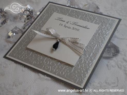 srebrna pozivnica za vjenčanje s perlom i mašnicom