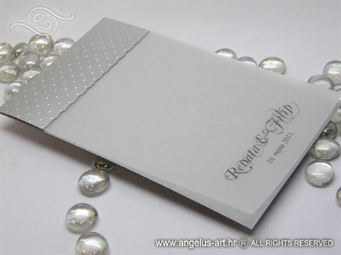 srebrna zahvalnica za vjenčanje s prozirnom stranicom i 3D točkicama