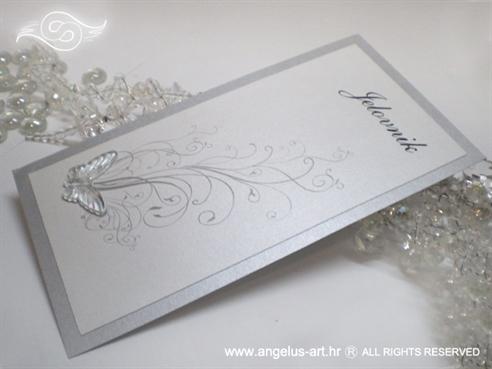 srebrni menu za vjenčanje s prozirnim leptirom