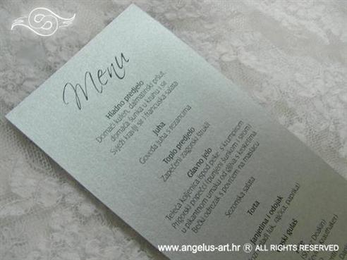 srebrni tiskani meni ili jelovnik za svadbenu svečanost