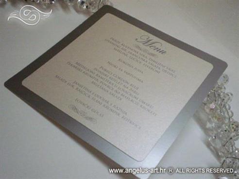 srebrno bijela menu carta za vjenčanje