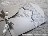 Pozivnica za vjenčanje Silver Damask Mini Beauty