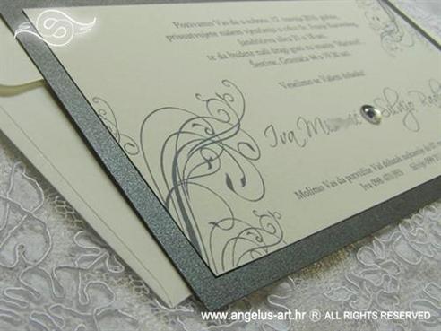 srebrno krem pozivnica za vjenčanje s cirkonom