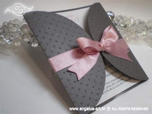 srebrno roza pozivnica za vjenčanje s točkicama i satenskom mašnom