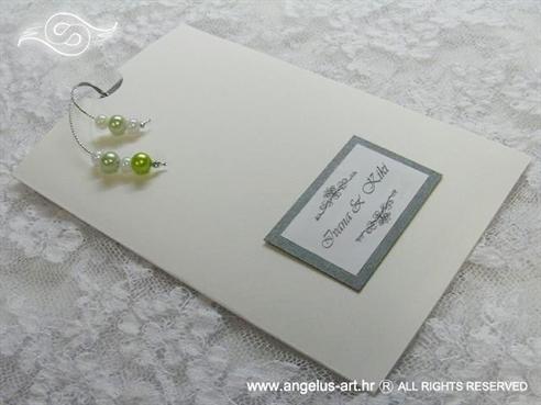 srebrno zelena pozivnica za vjenčanje na izvlačenje