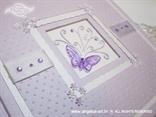 svijetlo ljubičast foto album s lila leptirom i točkicama