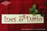 tablica za auto za vjencanje crvena slova imena