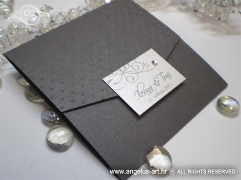 tamno srebrna pozivnica s cirkonom i točkicama