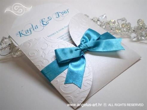 tirkizna pozivnica za vjenčanje s 3D tiskom i mašnom
