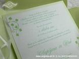 tisak na zelenu pozivnicu bijeli perlasti karton