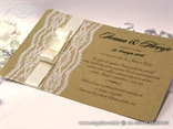 lace vintage retro wedding invitation with rose