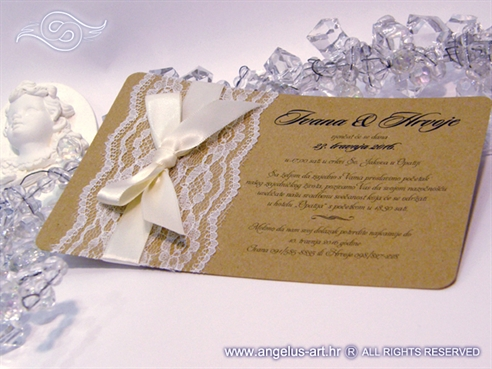 vintage retro lace wedding invitation with cream bow