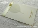 zahvalnica za vjenčanje bijela s bež ružom i prozirnim listom