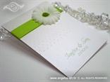 zahvalnica za vjenčanje bijela sa margaretom sa zelenim tučkom i točkicama