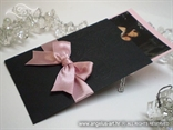 zahvalnica za vjenčanje crno roza s blindruckom i mašnom