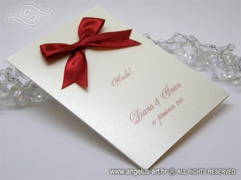 zahvalnica za vjenčanje krem crvena s velikom mašnom