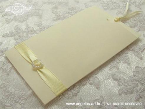 zahvalnica za vjenčanje krem sa srcem i satenskom trakom